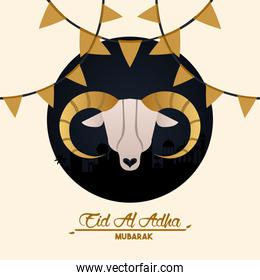 eid al adha celebration card with goat head and garlands
