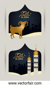 eid al adha celebration card with golden goat and mosque towers