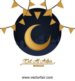 eid al adha celebration card with moon and garlands
