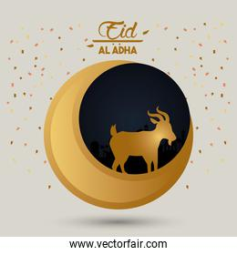 eid al adha celebration card with moon and lamb