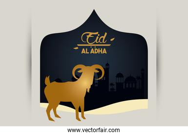eid al adha celebration card with golden goat in elegant frame