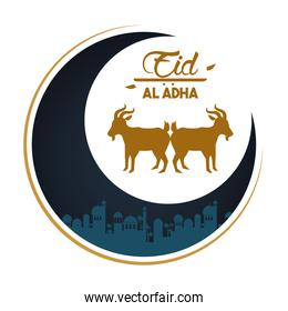 eid al adha celebration card with moon and lambs