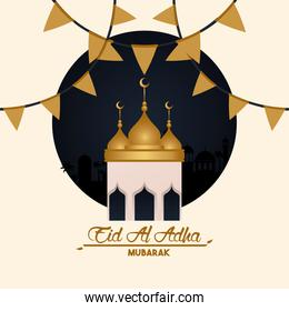 eid al adha celebration card with mosque cupule