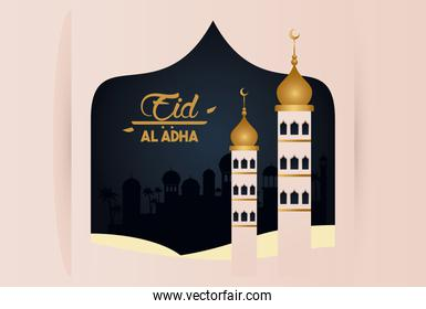 eid al adha celebration card with mosque towers