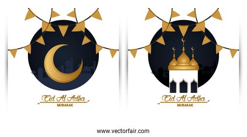 eid al adha celebration card with moon and mosque cupule