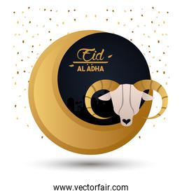 eid al adha celebration card with moon and goat