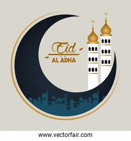 eid al adha celebration card with moon and mosque tower