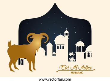 eid al adha celebration card with golden goat and cityscape