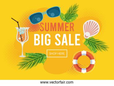 summer holidays sale poster with abstract frame
