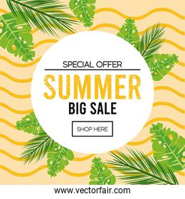 summer holidays sale poster with circular frame