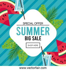 summer holidays sale poster with diamond frame