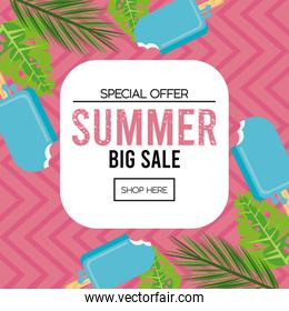 summer holidays sale poster with square frame