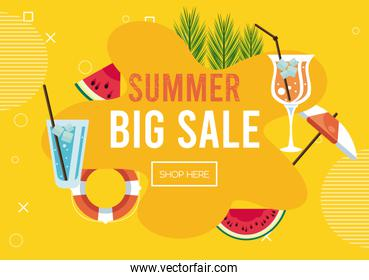 summer holidays sale poster with set icons