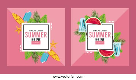 summer holidays sale poster with squares frames