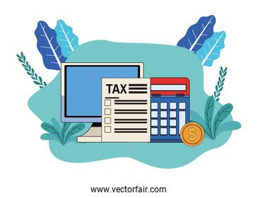 tax day pay with desktop and calculator