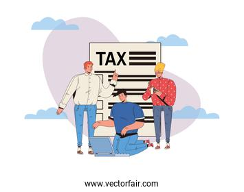 group of people with tax day pay