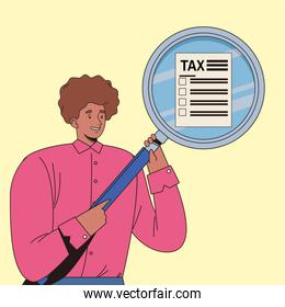 young man with tax day pay