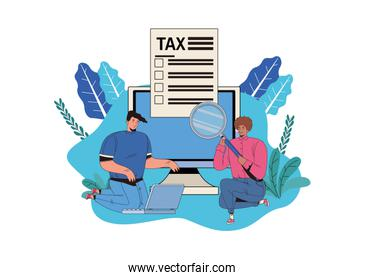 couple with tax day pay