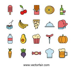 bundle of food and drinks icons