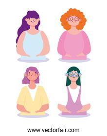 young group female characters women cartoon isolated design