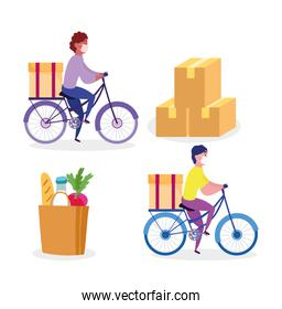 safe delivery at home during coronavirus covid-19, courier man riding bike with box market bag and cardboard boxes