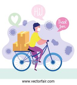safe delivery at home during coronavirus covid-19, courier man riding bike with medical mask and boxes