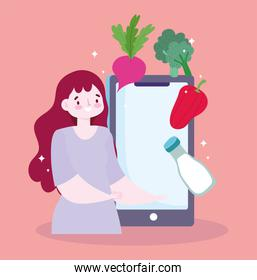 safe delivery at home during coronavirus covid-19, online service ordering food, woman with smartphone