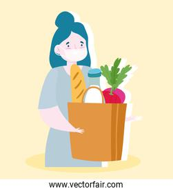 safe delivery at home during coronavirus covid-19, woman with protective mask and grocery bag with food