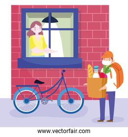 safe delivery at home during coronavirus covid-19, courier man with mask and grocery bag and woman looking out the window