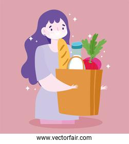 safe delivery at home during coronavirus covid-19, customer woman with medical mask and grocery bag with food