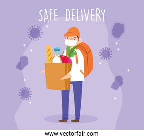safe delivery at home during coronavirus covid-19, courier man with medical mask backpack and grocery paper bag