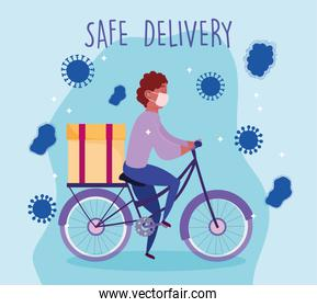 safe delivery at home during coronavirus covid-19, courier man with medical mask riding bike