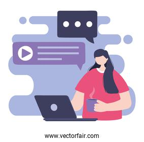 online training, woman using laptop with coffee cup, education and courses learning digital