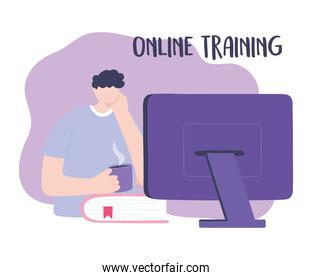 online training, boy looking computer with coffee cup, education and courses learning digital