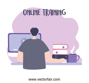 online training, man studying in computer with books, education and courses learning digital