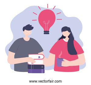 online training, man and woman with books and coffee cup, education and courses learning digital