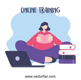 online training, woman reading book with laptop, education and courses learning digital