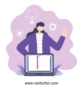 online training, woman using laptop teaching lesson book, education and courses learning digital
