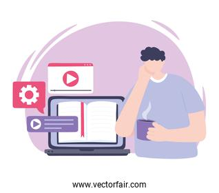 online training, man with laptop books and coffee cup studying, education and courses learning digital