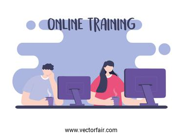 online training, students using computer with coffee cups, education and courses learning digital