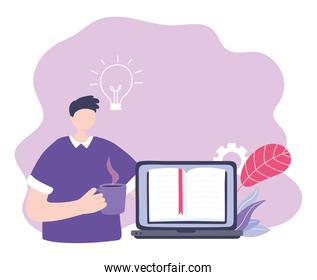 online training, guy with laptop homepage and coffee cup, education and courses learning digital