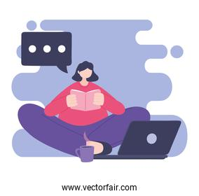 online training, girl reading book with laptop and coffee cup, education and courses learning digital