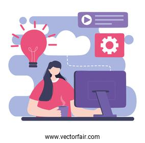 online training, woman with computer website content, education and courses learning digital