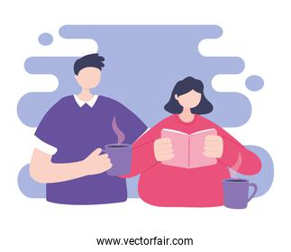 online training, students with book and coffee cup, education and courses learning digital