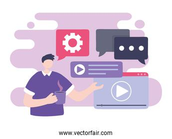 online training, man student video player chatting, education and courses learning digital