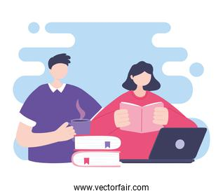 online training, man and woman reading book and laptop, education and courses learning digital