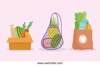 online market, box paper bag and eco friendly mesh food grocery shop home delivery