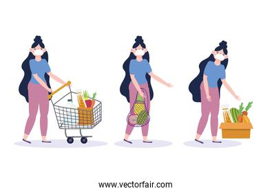 young woman with medical mask cart box bag market food delivery in grocery store
