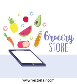 online market, smartphone fruits vegetable and bread food delivery in grocery store