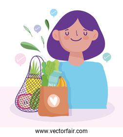 online market, woman check mark paper bag with food, delivery in grocery store